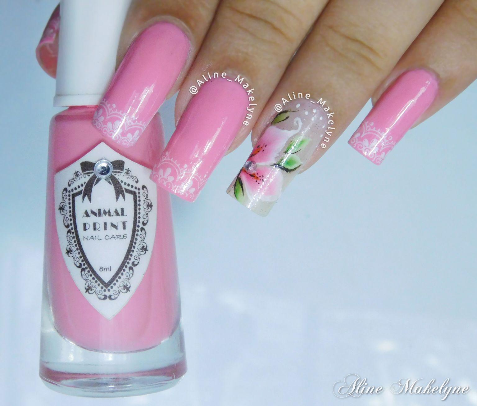 Pink Flower Unhas