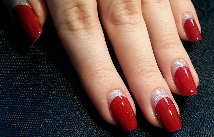 glitter red reverse half moon nails
