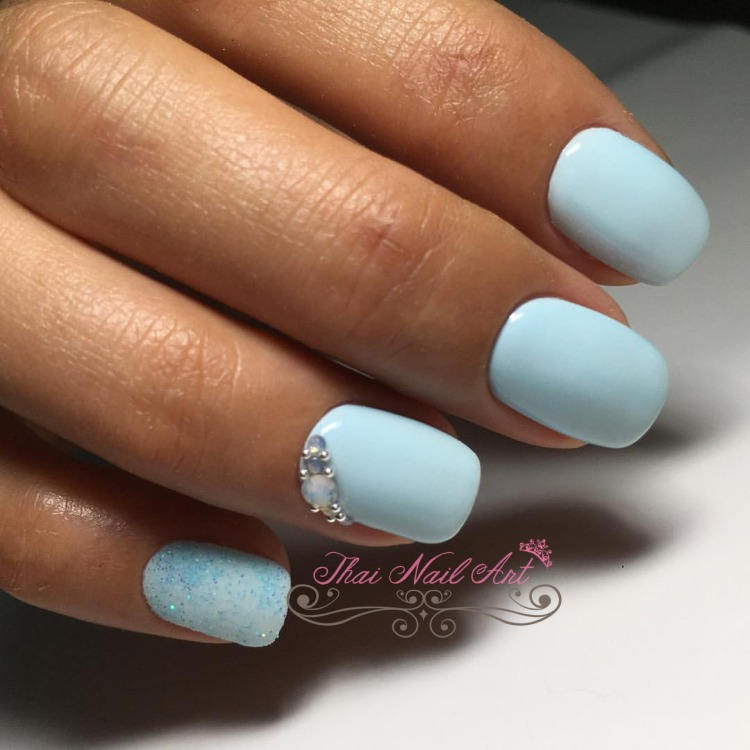 Light Blue Gel Nails